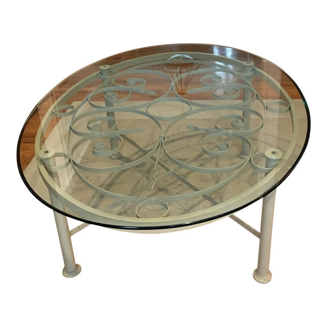 Ethan Allen Oval Iron & Glass Cocktail Table - Image 1 of 3