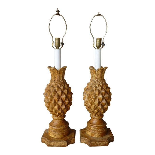 1970s Italian Haute Design Carved Wood Pineapple Lamps - a Pair For Sale
