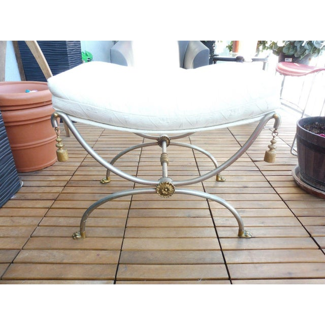 Fab brass and steel Neoclassical bench with rope tassels sold as found without damage. Made in the 1970s.