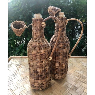 Vintage Natural Woven Raffia Rattan Wrapped Glass Demijohns- a Pair Preview