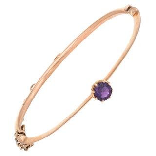 Antique Victorian Bangle Bracelet Amethyst 10 Karat Gold Vintage Fine Jewelry For Sale