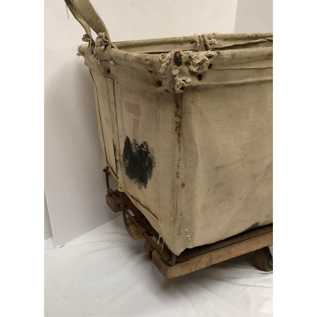 1940s Vintage Industrial Canvas Laundry/Postal Cart For Sale - Image 5 of 11