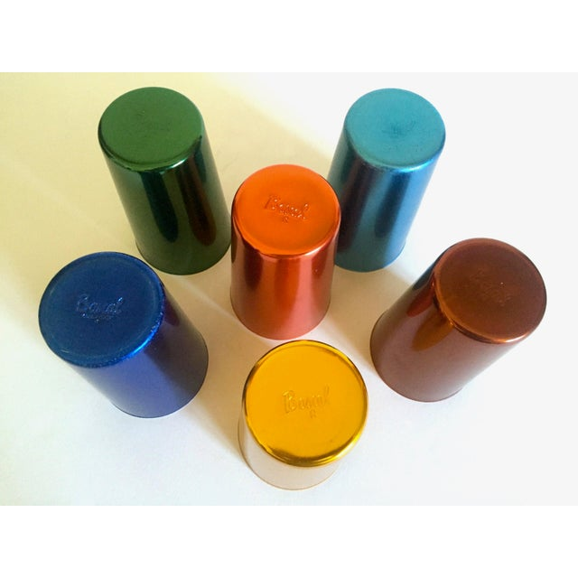 Vintage Mid Century Modern Italy Anodized Spun Aluminum Multicolor Tumbler Cups - Set of 6 For Sale - Image 12 of 13
