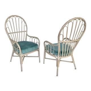 Vintage Rattan High Back Peacock Chairs - a Pair For Sale