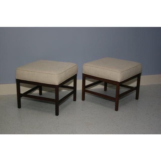 Mid-Century Walnut Frame Upholstered Stools - Pair - Image 6 of 6
