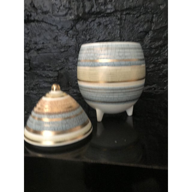1950s Mid Century Sascha Brastoff Abstract Series Stripe Egg Jar Signed For Sale - Image 5 of 11