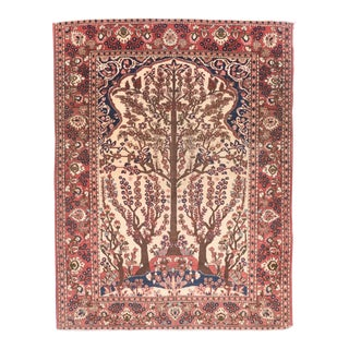 Antique Ivory Field Isfahan Persian Area Rug For Sale