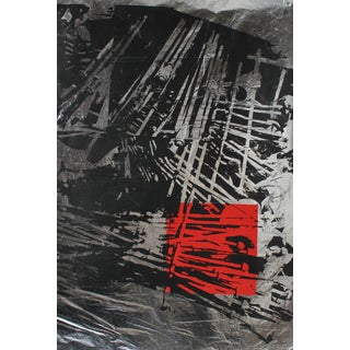Graphic Serigraph in Black and Red on Silver Paper, Circa 1970's For Sale