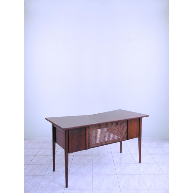 Edward Wormley for Dunbar Teak & Cane Desk For Sale In Chicago - Image 6 of 6