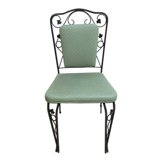 Vintage Iron Russell Woodard Floral Dining Chair For Sale