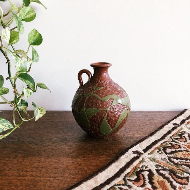 Vintage Ceramic With Carved Leaves Bud Vase or Olive Oil Jug For Sale In Austin - Image 6 of 6