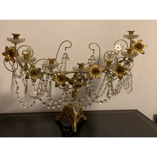 Antique French Crystal and Bronze 7 Arm Candelabra or Centerpiece Preview