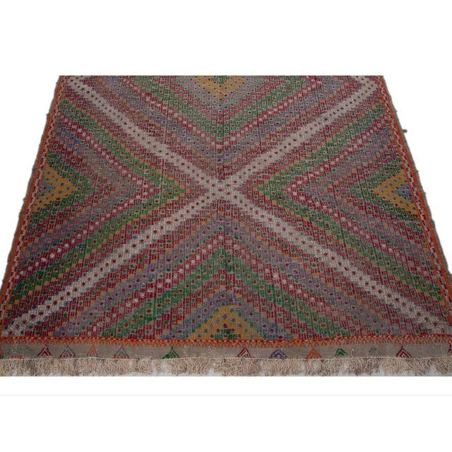 Vintage Flat Weave Turkish Kilim - 6′4″ × 9′11″ - Image 7 of 7