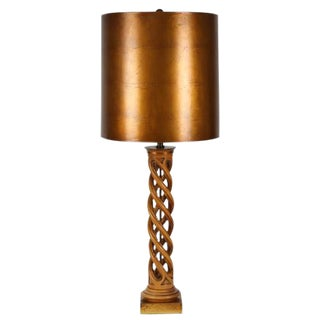 1950's VINTAGE JAMES MONT CARVED HELIX TABLE LAMP