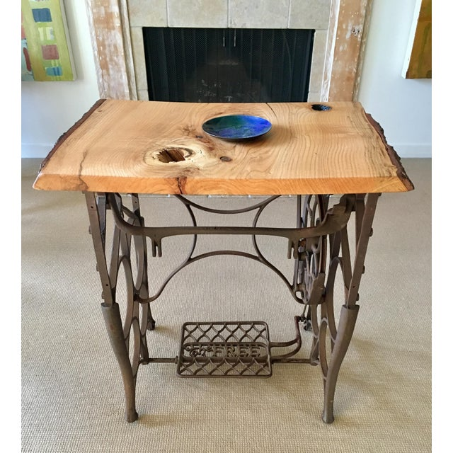 Country Live Edge Console with Sewing Machine Base For Sale - Image 3 of 10