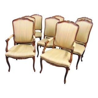 John Widdicomb Louis XV Style Cherry Floral Carved Chairs - Set of 8 For Sale