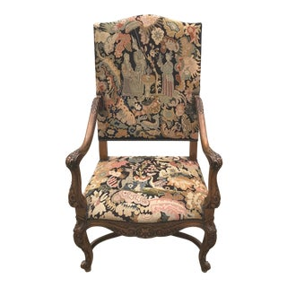 19th Century French Renaissance Needlepoint Walnut Fireside Chair For Sale