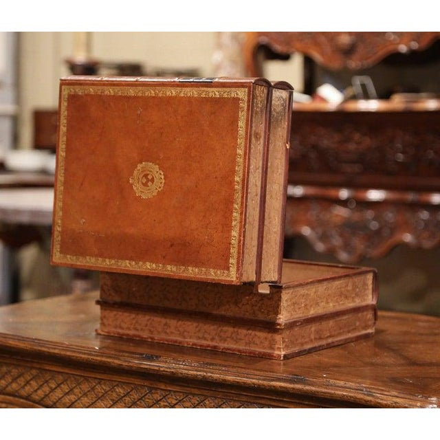 Brown Early 20th Century French Leather Bound Books Decorative Box With Drawer For Sale - Image 8 of 10