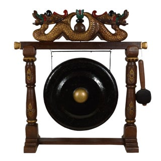 Antique Chinese Bronze Gong With Carved Dragon Stand For Sale