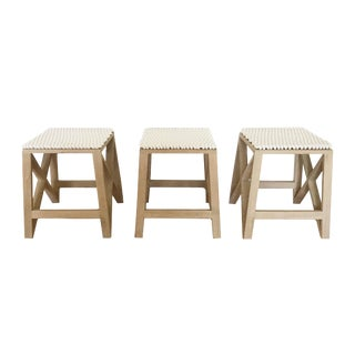 Wood Stools With Rope Detail - Set of 3