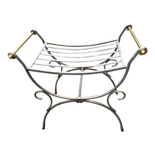 French 1950s Style Iron and Brass Bench For Sale