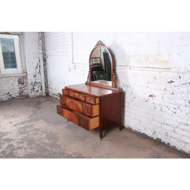 Early Herman Miller Carved Walnut and Burl Wood Five-Drawer Dresser With Mirror, Circa 1920s For Sale In South Bend - Image 6 of 13