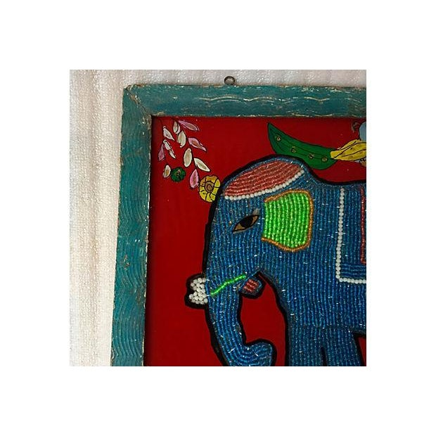Asian Beaded Indian Elephant Églomisé For Sale - Image 3 of 5