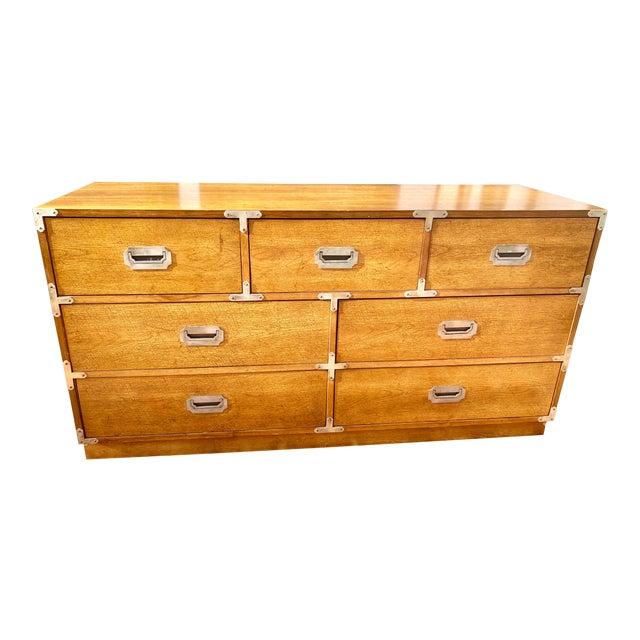 1970s Mid Century Modern Bernhardt Walnut Campaign Dresser For Sale