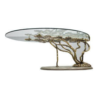 Beautiful Bronze Tree Form Sofa Table With Slate Base and Glass Top, 1960s For Sale