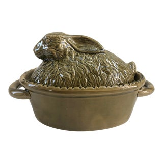 French Pottery Majolica Vintage Rabbit Tureen For Sale