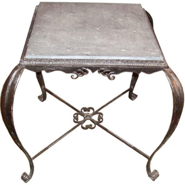 Metal Vintage Iron Side Table With Slate Top For Sale - Image 7 of 7