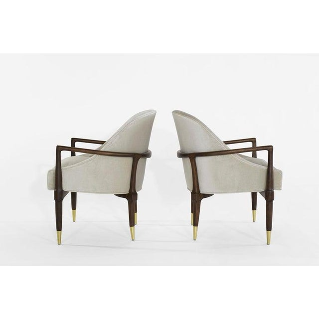 Mid-Century Modern Walnut Lounge Chairs - a Pair For Sale In New York - Image 6 of 13