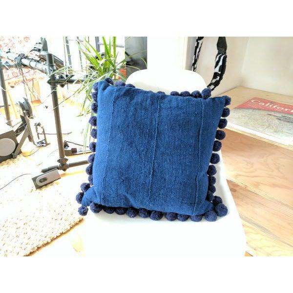 Solid Indigo Mudcloth Pom Poms Pillow - Image 6 of 6