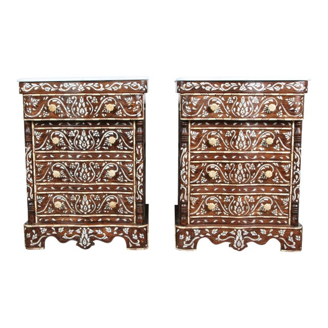Pair of Syrian Mother-Of-Pearl Inlay Nightstands For Sale