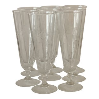 Vintage Etched Pilsner Flute Glasses - Set of 8 For Sale