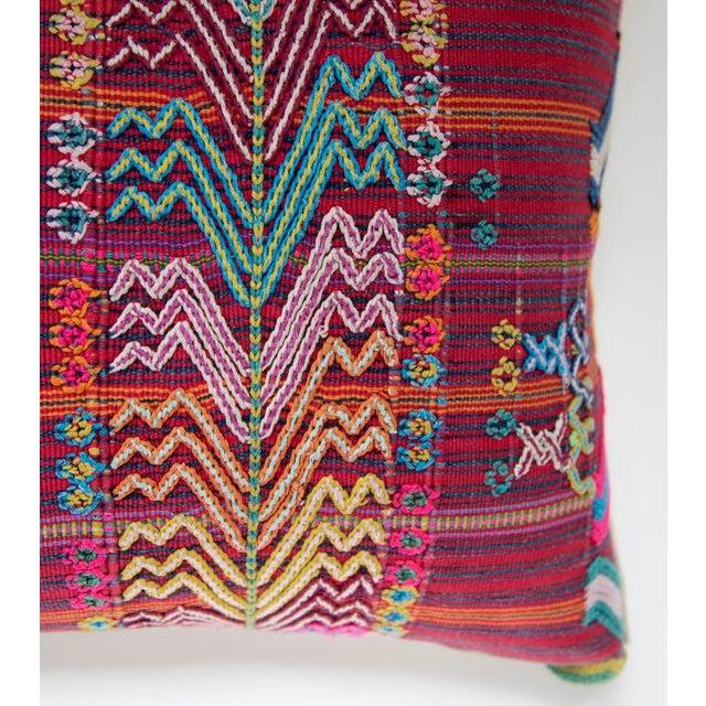 Vintage Guatemalan Red & Pink Striped Pillow - Image 3 of 6