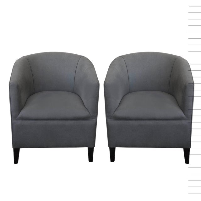 Art Deco Circa 1930's Grey English Tub Chairs - A Pair For Sale - Image 3 of 3