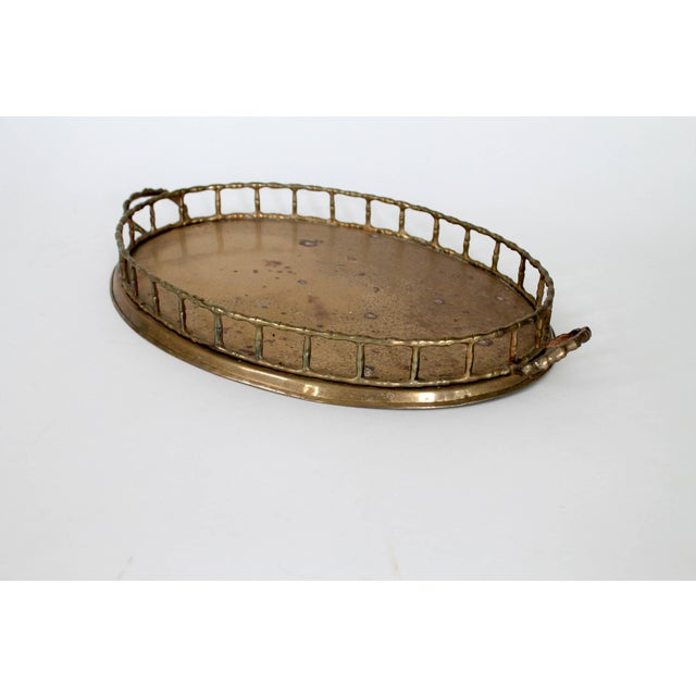 Vintage faux bamboo brass tray. No makers mark. Some patina & oxidation.