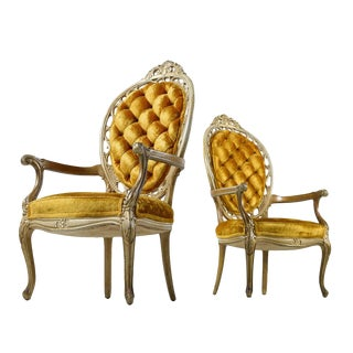 Pair of Hollywood Regency Louis XV Style Gold Velvet Deep Tufted Armchairs For Sale