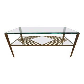 French Mid Century Glass Top Cocktail Table For Sale