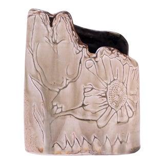 1975 Studio Ceramic Sage Floral Vase Signed Pollack For Sale
