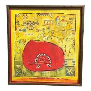 1999 Figurative Abstract Mixed-Media Painting by Nigerian Born Artist Tola Wewe, Framed For Sale