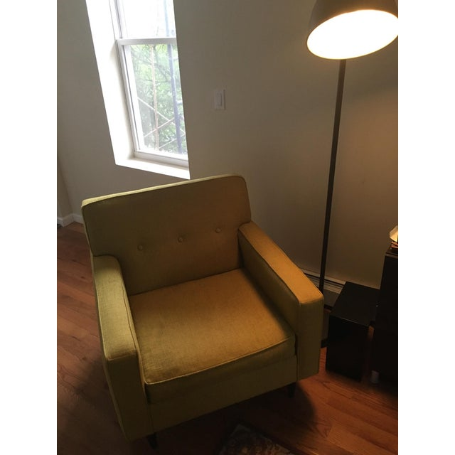 Mid-Century Style Ochre Armchair For Sale - Image 5 of 5
