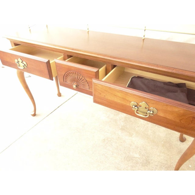 Brown American Drew Cherry Queen Anne Sofa Hall Foyer Table Console For Sale - Image 8 of 11