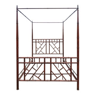 Vintage Chinoiserie Faux Bamboo Chippendale Queen Size Canopy Bed For Sale