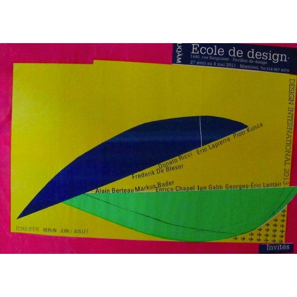 Contemporary 2013 Original Ecole De Design - Design International Poster (Blue, Green, Yellow) - Alfred Halasa For Sale - Image 3 of 3