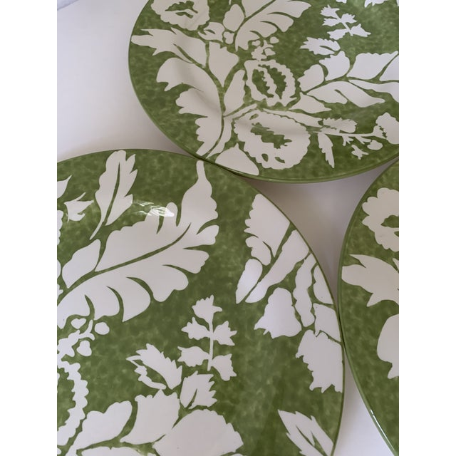 """A set of 4 (four) Roscher AMBIANCE collection green dinner plates. 10-3/4"""" wide."""