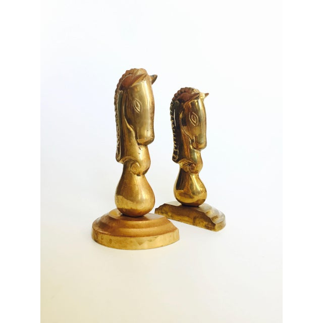 Art Deco Vintage Brass Horse Bookends - a Pair For Sale - Image 3 of 7
