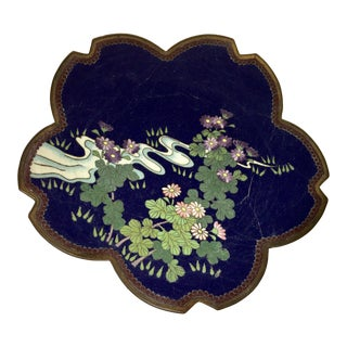 Japanese Style Floral & Stream Ceramic Plate For Sale