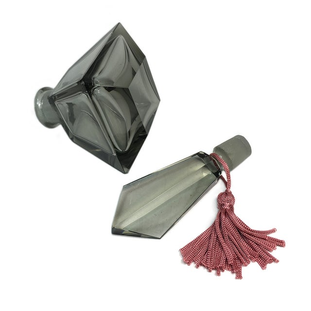 Smoky Cut Glass Perfume Bottle - Image 4 of 4